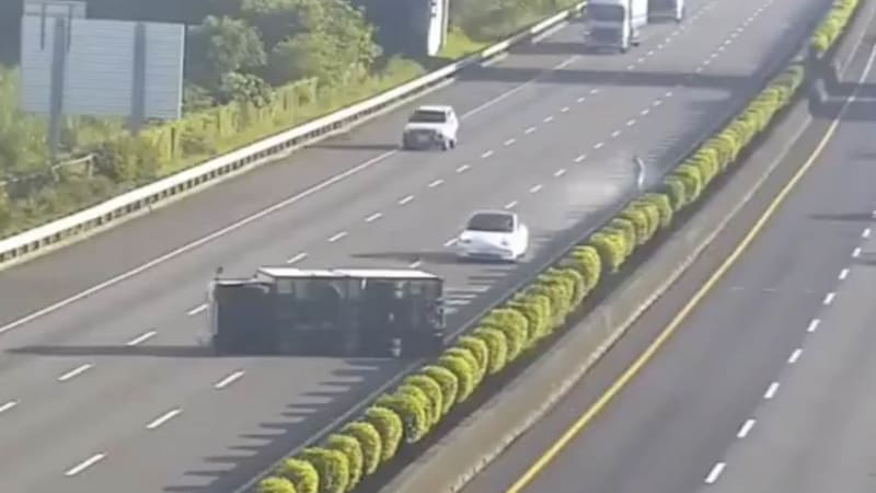 Watch a Model 3 drive straight into a flipped semi on a Taiwan highway