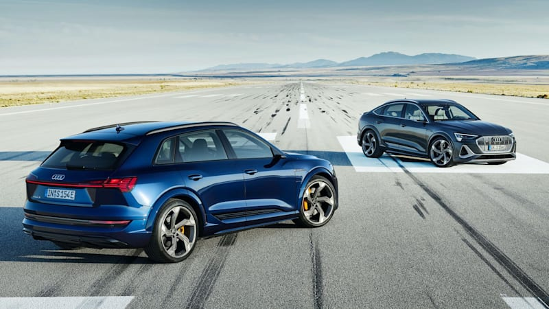 Audi E-Tron S and E-Tron S Sportback shown with sporty, electric styling