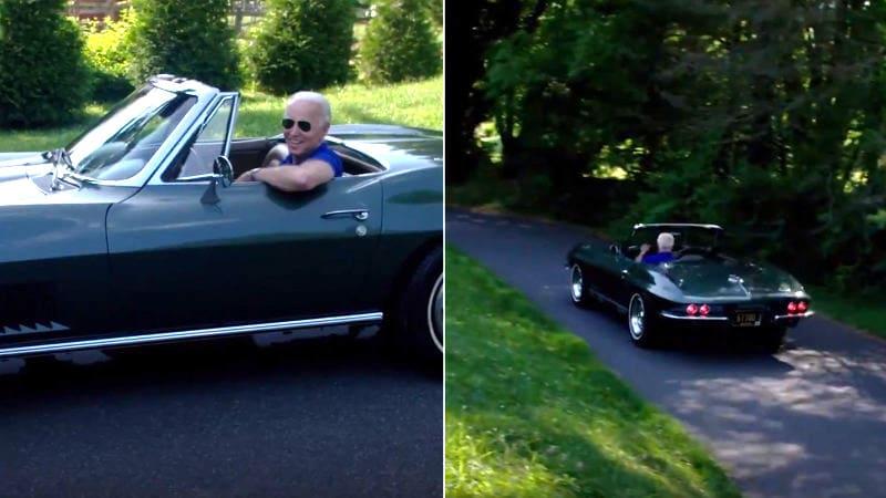 Joe Biden talks about his C2 Corvette Stingray in Twitter video.