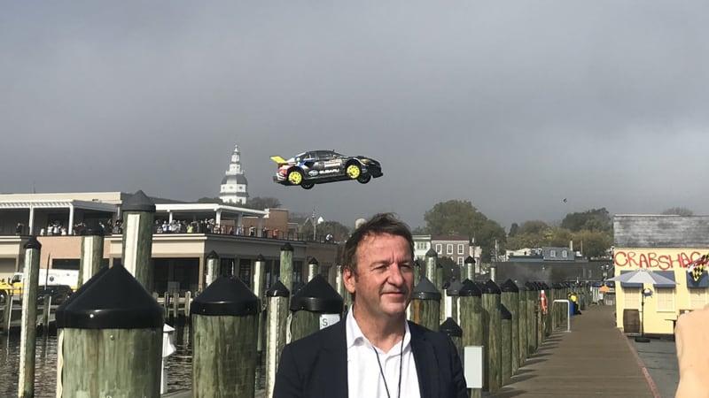 Travis Pastrana treats hometown to river jump stunt