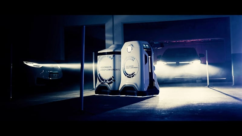 Volkswagen develops an autonomous EV-charging robot