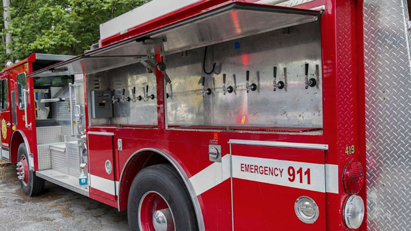 Custom fire truck has 10 beer taps and a walk-in cooler