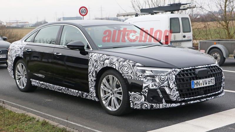 2022 Audi A8 spy photos show bolder front fascia
