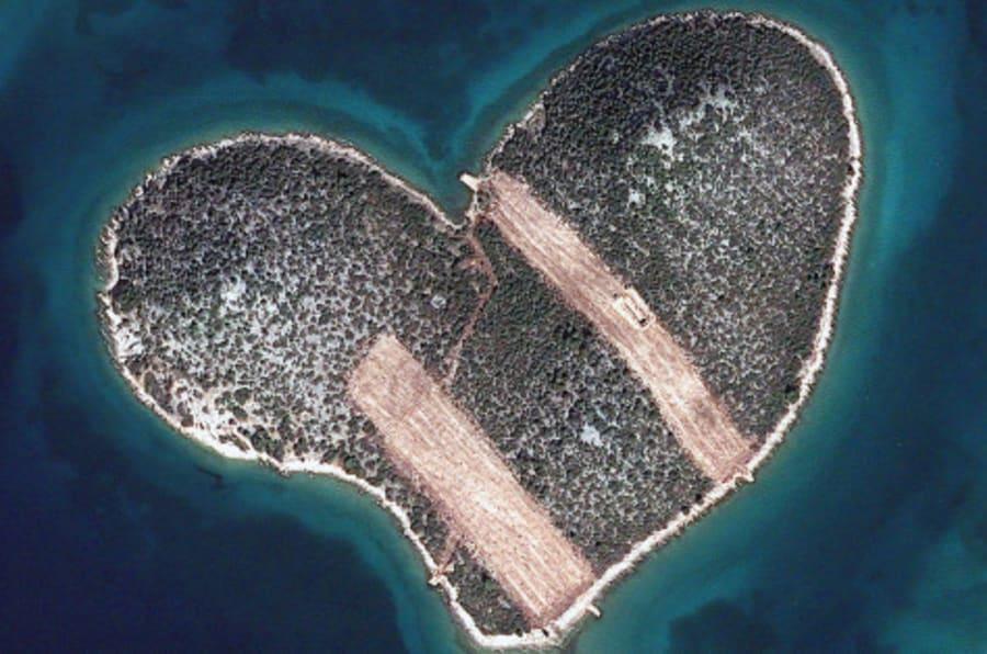 HEART ISLAND, GALESNJAK, CROATIA - FEBRUARY 16, 2013:  This is a satellite image of Heart Isalnd, Galesnjak, Croatia collected on February 16, 2013.  (Photo DigitalGlobe via Getty Images)