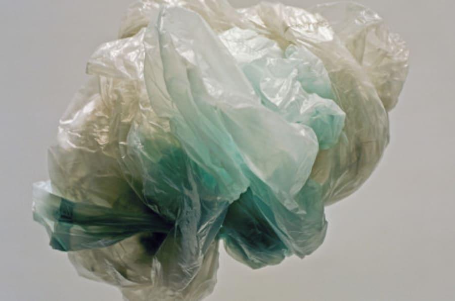 Crumpled plastic bag, studio shot