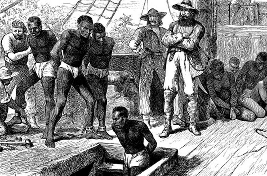 Captives being brought on board a slave ship on the West Coast of Africa (Slave Coast), c1880. Although Britain outlawed slavery in 1833 and it was abolished in the USA after the defeat of the Confederacy in the Civil War in 1865, the transatlantic trade in African slaves continued. The main market for the slaves was Brazil, where slavery was not abolished until 1888. (Photo by Ann Ronan Pictures/Print Collector/Getty Images)