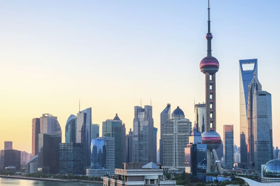 beautiful shanghai in sunrise,cityscape of pudong skyline