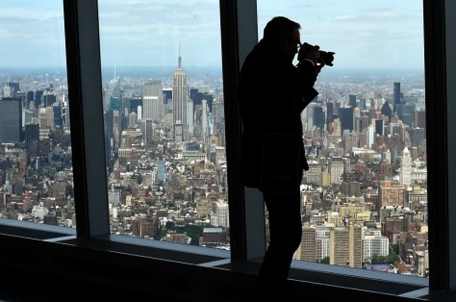 A view of Manhattan is seen from the One World Observatory May 20, 2015 during a  media tour and preview in New York. This early visit to the Observatory at One World Trade Center  will showcase all of the main attractions that the Observatory offers on floors 100 to 102 -- Voices, Foundations, Sky Portal, City Pulse and more. One World Observatory announced that its official public opening date will be May 29, 2015. AFP PHOTO  / TIMOTHY A. CLARY        (Photo credit should read TIMOTHY A. CLARY/AFP/Getty Images)