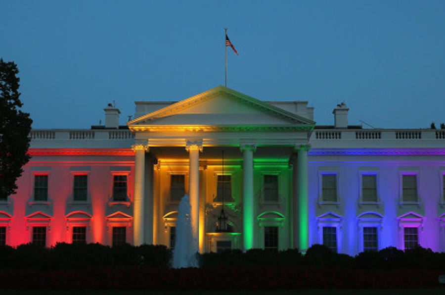 WASHINGTON, DC - JUNE 26:  Rainbow colored lights shine on the White House to celebrate todays US Supreme Court ruling in favor of same-sex marriage June 26, 2015 in Washington, DC. Today the high court ruled 5-4 that the Constitution guarantees a right to same-sex marriage in all 50 states.  (Photo by Mark Wilson/Getty Images)