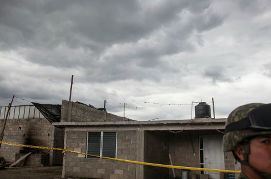 MEXICO CITY, MEXICO - JULY 12: View of a house under construction used by El Chapo Guzman to scape from prison during an operation on the surroundings of Mexican Maximum Security Prison of 'El Altiplano' after confirming the escape of Mexican drug trafficker Joaquin 'El Chapo' Guzman on July 12, 2015 in Mexico City, Mexico. 'El Chapo' was seen last time around 20:52 on the video security system when he got close to the showers where he normally take his shower and wash his essentials. (Photo by Manuel Velasquez/LatinContent/Getty Images)