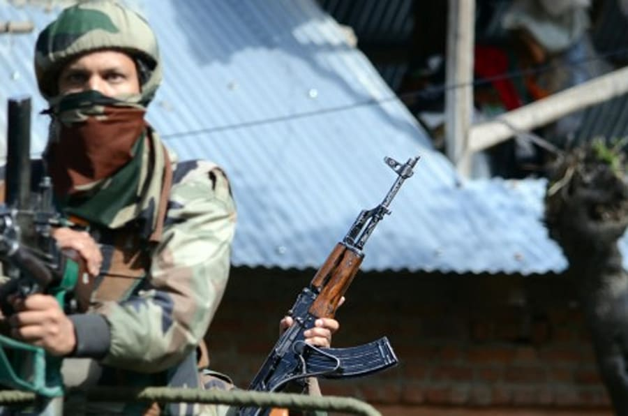 BARAMULA, INDIA - 2015/10/21: A militant Nisar Wani of Hizbul Mujahideen outfit was killed in a gun battle and three Indian army men sustained injuries during an encounter in north Kashmirs Tangmarg area of Baramula district. (Photo by Faisal Khan/Pacific Press/LightRocket via Getty Images)