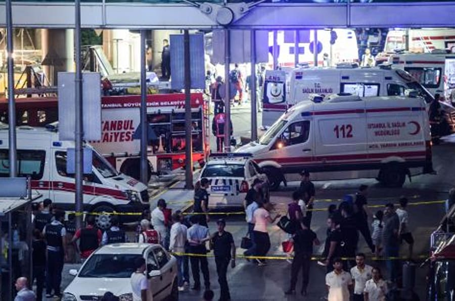 Forensic police work the explosion site at Ataturk airport on June 28, 2016 in Istanbul after two explosions followed by gunfire hit Turkey's biggest airport, killing at least 28 people and injured 20.  All flights at Istanbul's Ataturk international airport were suspended on June 28, 2016 after a suicide attack left at least 10 people dead and 20 others wounded, Turkish television stations reported.  / AFP / OZAN KOSE        (Photo credit should read OZAN KOSE/AFP/Getty Images)