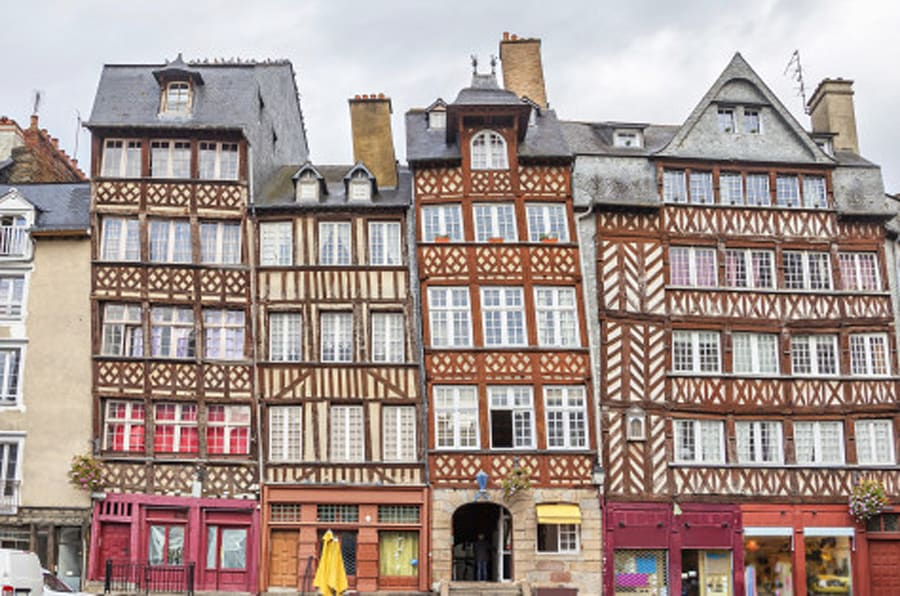 Old half-timbered buildings in Rennes, Brittany, France