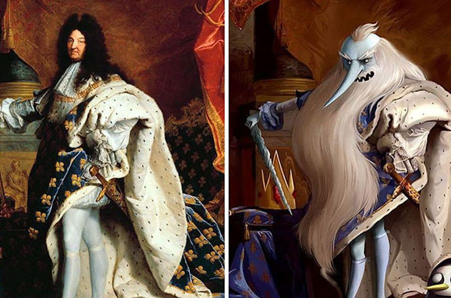 """Portrait of Louis XIV"" by Hyacinthe Rigaud reimagined with Ice King from ""Adventure Time."""