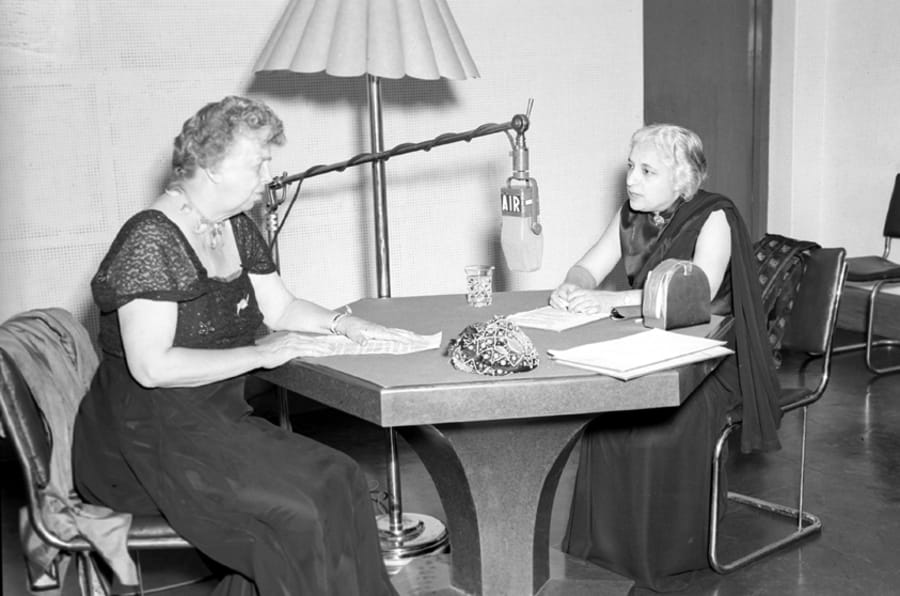 All-India Radio Question Hour being conducted by Mrs. Eleanor Roosevelt and Shrimati Vijayalakshmi at the A.I.R. Station New Delhi on March 14, 1952.