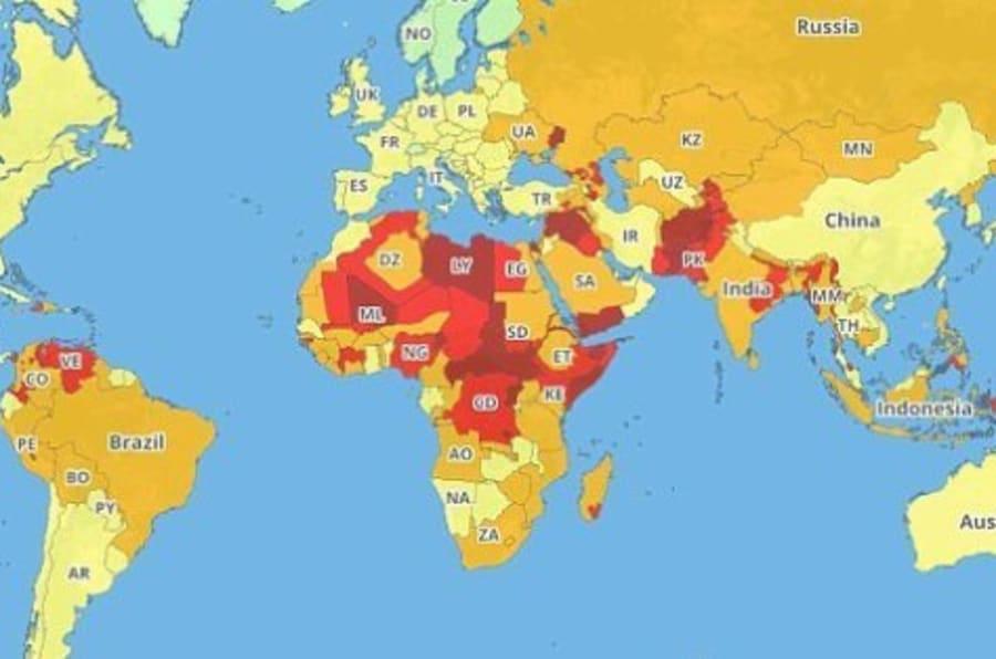 La mappa dei paesi pi pericolosi una finestra sulla - Mappa del mondo contorno ks2 ...