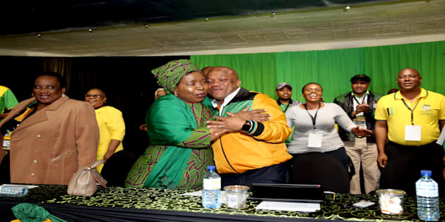 ANC presidential hopeful Nkosazana Dlamini-Zuma is congratulated by Sihle Zikalala at the party's KwaZulu-Natal provincial general council on December 05, 2017 in Durban.