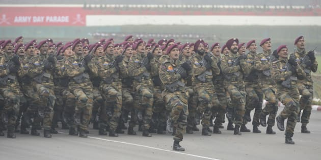 Indian Army Para Commandos march during the Army Day parade in New Delhi.
