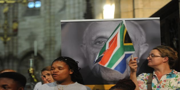 Supporters during the memorial service of ANC stalwart Ahmed Kathrada in Cape Town.