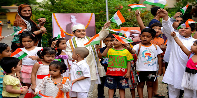 File photo of children celebrating Independence Day in Kolkata.