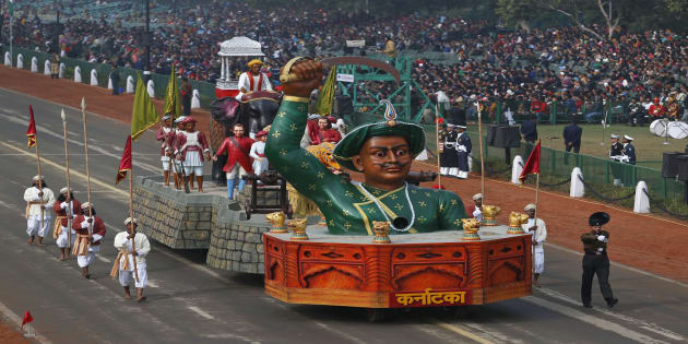 A tableau depicting the might of Indian historical figure Tipu Sultan moves past during full dress rehearsals for the Republic Day parade.