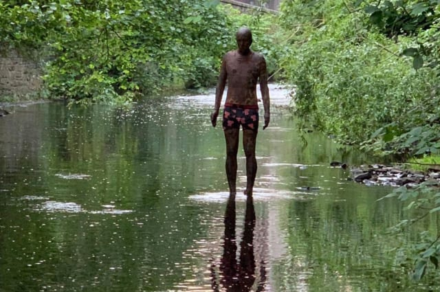 Mystery as Gormley river statue dressed in pants