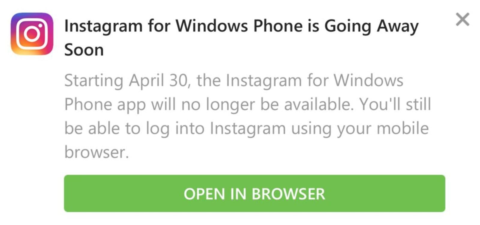 Un message indiquant que Instagram pour Windows Phone ne serait plus disponible après le 30 avril.