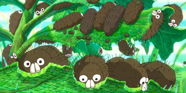 『毛虫のボロ』のワンシーン。毛虫たちが、一心不乱に葉っぱを食べている。