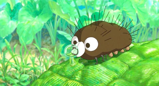 『毛虫のボロ』のワンシーン。キョトンとした目がかわいい。