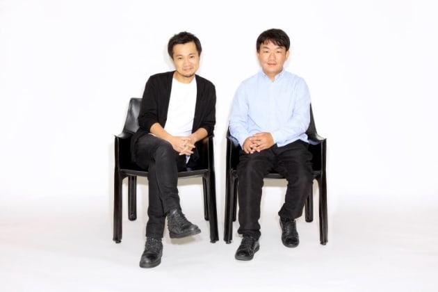 左からバンク代表取締役兼CEOの光本勇介氏、DMM.com代表取締役社長の片桐孝憲氏