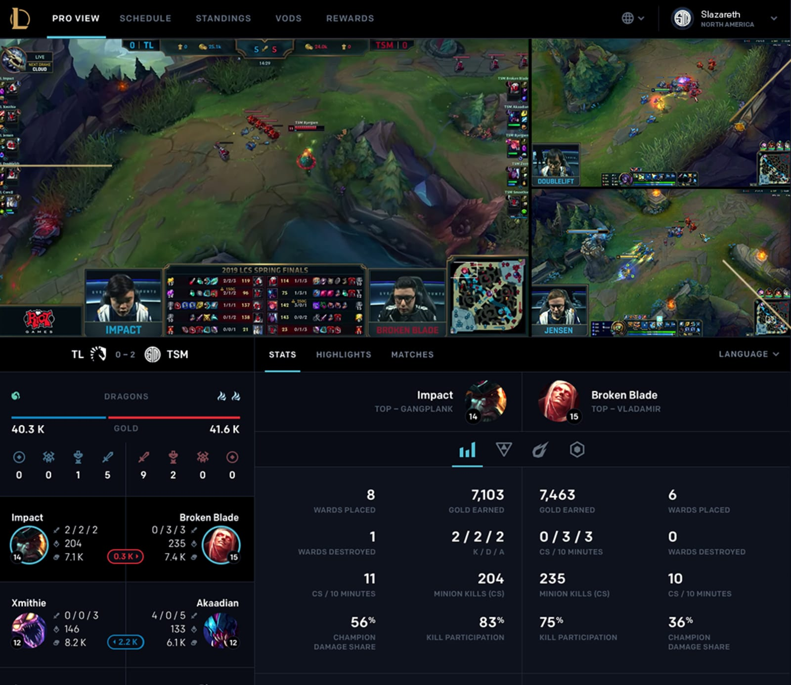 'League of Legends' Pro View