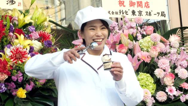 アイスクリーム作りを本格的にスタートする、ロンドンオリンピック金メダリストで元柔道女子の松本薫さん。