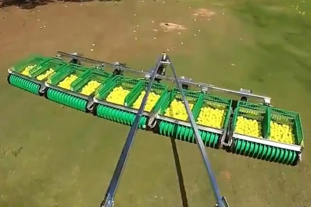 Golf ball-picking machine collects thousands of balls at a time