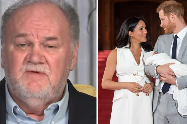 Thomas Markle (appearing on 'Good Morning Britain') and Meghan, Harry and their newborn son
