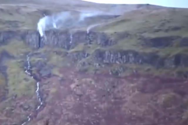 Waterfall turns 'upside down' during Storm Ciara