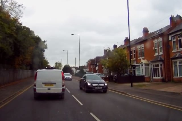 Impatient driver recklessly speeds along footpath in Birmingham