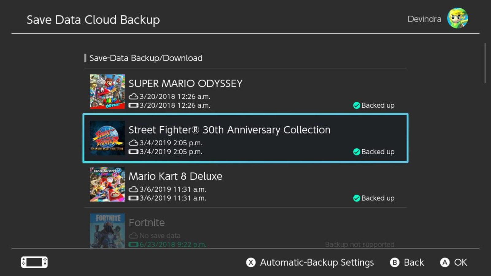 Switch Online game save backups