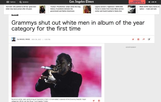 ロサンゼルス・タイムズは、「グラミー賞は初めて最優秀アルバム賞から白人男性を締め出した」との見出しで記事を掲載した。