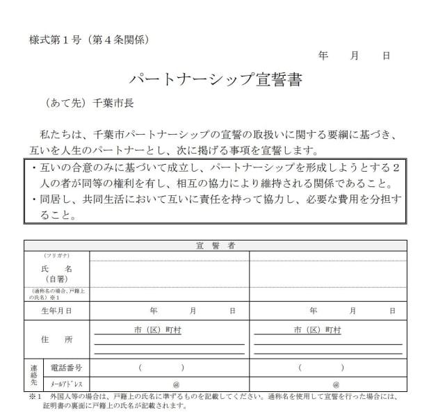 千葉市が1月29日に施行するパートナーシップ宣誓制度に使われる宣誓書の申込用紙