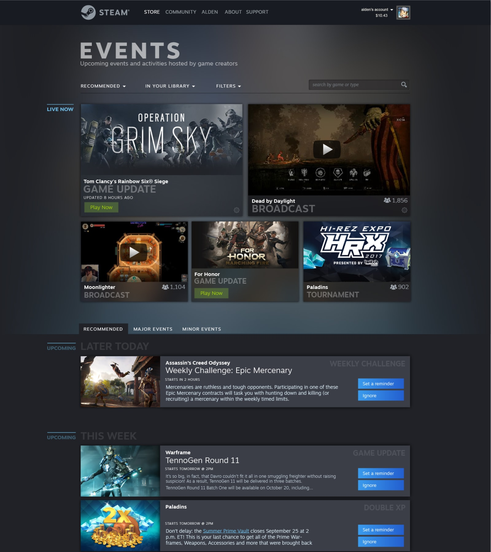 Steam Events page preview