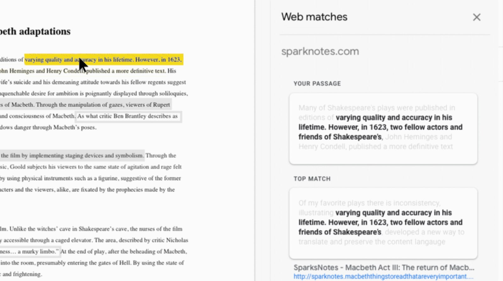 Google's 'Assignments' tool flags plagiarism and missing sources