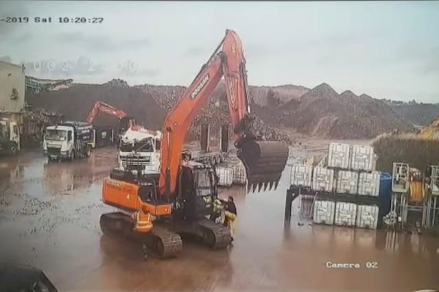 An angry worker who smashed his boss's £100,000 Range Rover and a lorry's cab unit during a wrecking spree in a 25-tonne digger in a row over pay has been jailed
