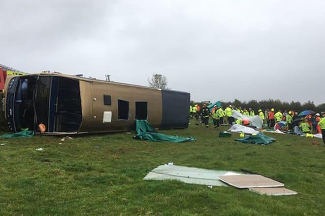 Passengers injured after double-decker bus overturns in Devon
