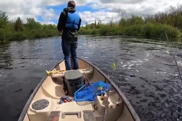 Men in boat fall into water while trying to catch a big fish
