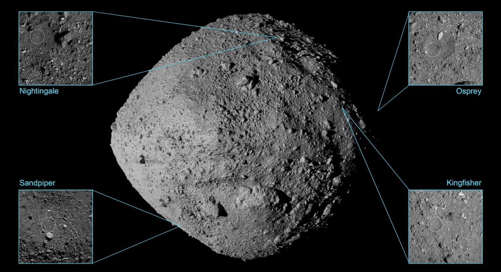 NASA chooses four potential asteroid sample sites for OSIRIS-REx