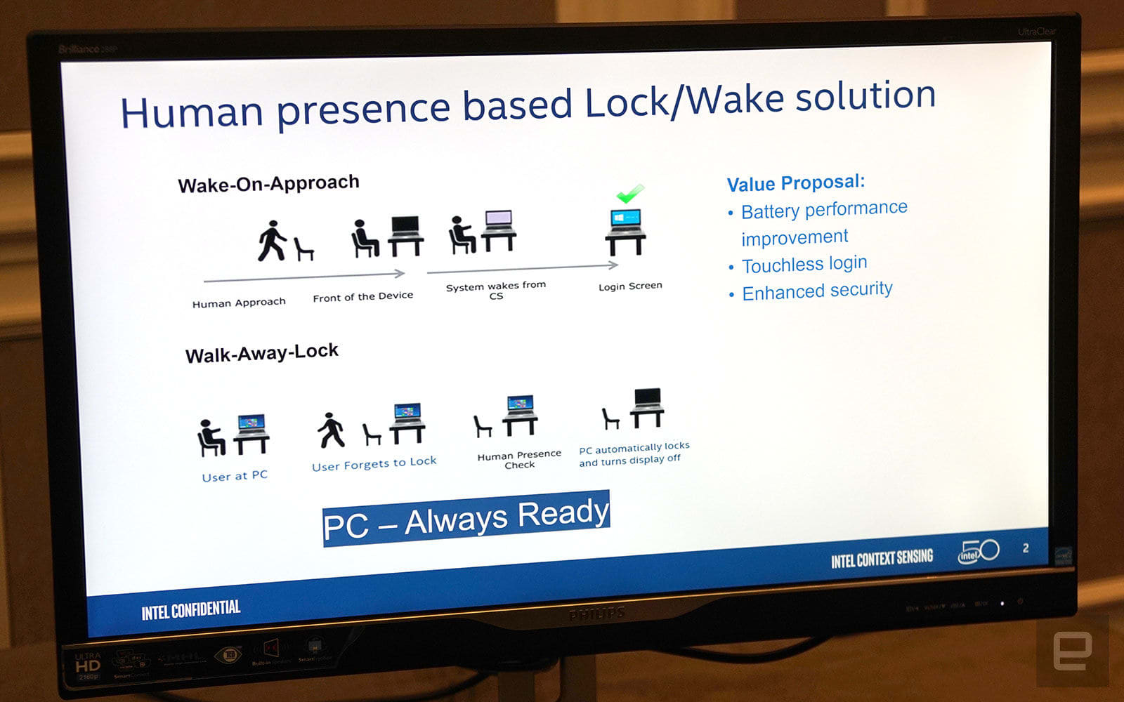 Intel Project Athena presence-based lock wake