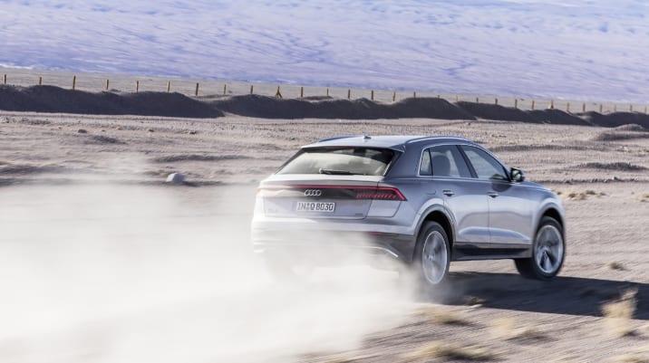 Audi Q8 driving in the desert