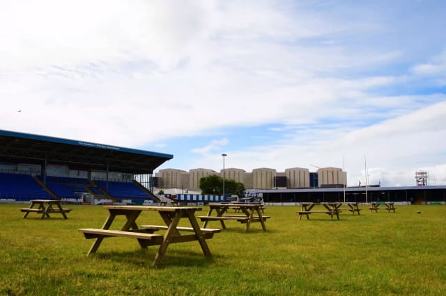 A beer garden thought to be the biggest in Britain is being set up