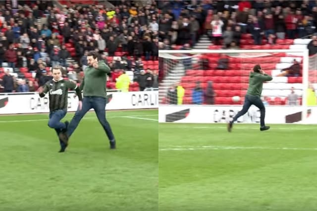 Plymouth supporter tripped by Sunderland fan during half-time race