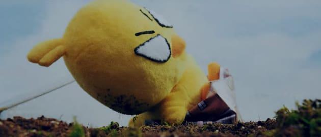 巨大化したひよこちゃんに破壊される池田市の「落語みゅーじあむ」